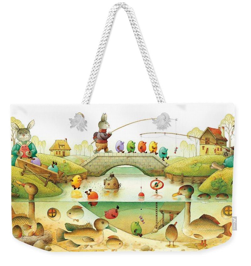 Eggs Easter Rabbit Weekender Tote Bag featuring the painting Eggstown by Kestutis Kasparavicius