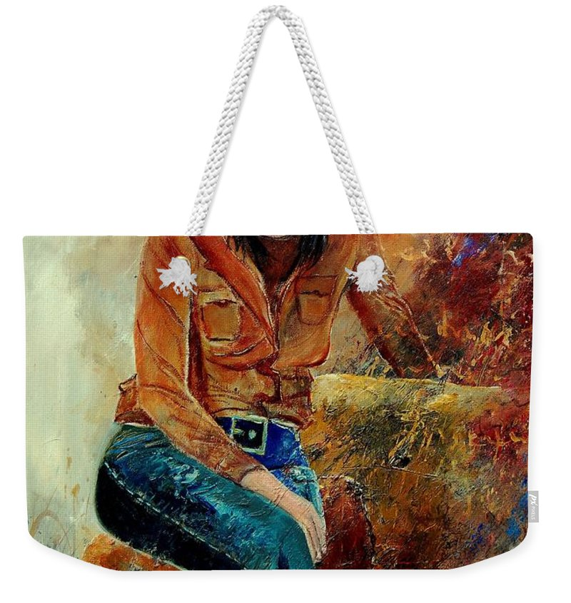 Girl Weekender Tote Bag featuring the painting Eglantine 57 by Pol Ledent