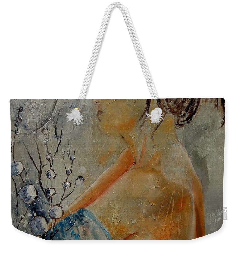 Girl Weekender Tote Bag featuring the painting Eglantine Before The Mirror by Pol Ledent