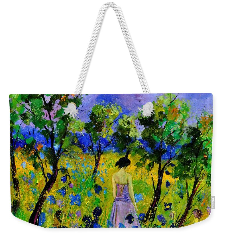Landscape Weekender Tote Bag featuring the painting Eglantine's Summer Walk by Pol Ledent