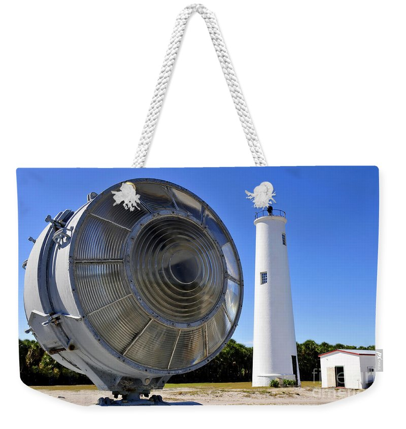 Fine Art Photography Weekender Tote Bag featuring the photograph Egmont Key Lighthouse 1858 by David Lee Thompson