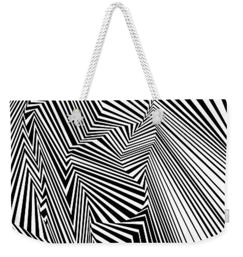 Dynamic Black And White Weekender Tote Bag featuring the painting Egnirf by Douglas Christian Larsen