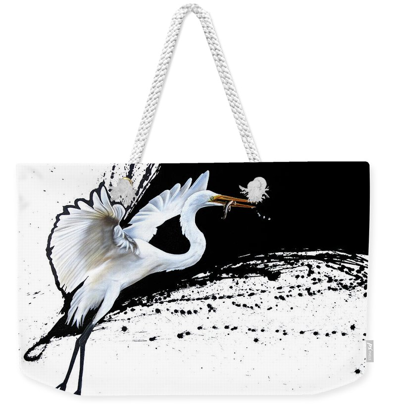 Egret Weekender Tote Bag featuring the painting Egret 2 by Sandi Baker