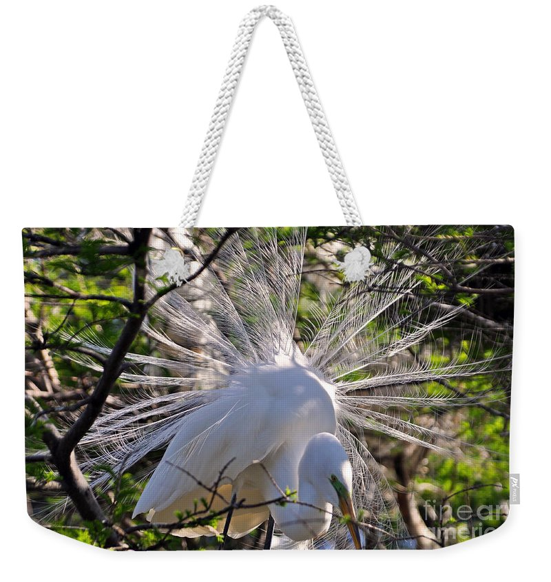 Egret Weekender Tote Bag featuring the photograph Egret In The Thicket by Lydia Holly