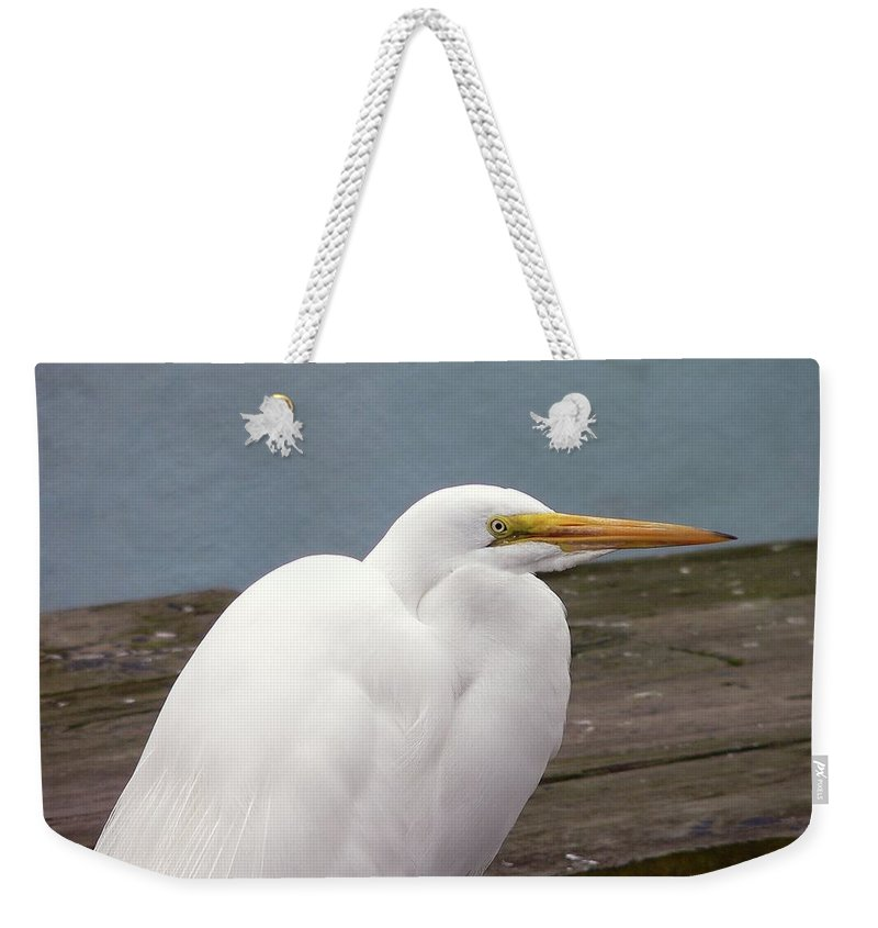 Great Egret Weekender Tote Bag featuring the photograph Egret On The Dock by Al Powell Photography USA