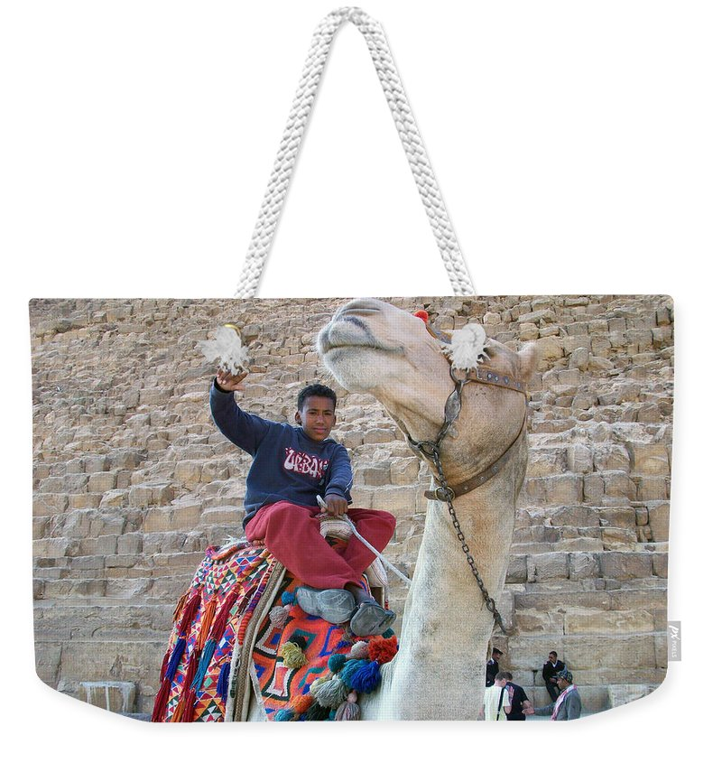 Egypt Weekender Tote Bag featuring the photograph Egypt - Boy With A Camel by Munir Alawi