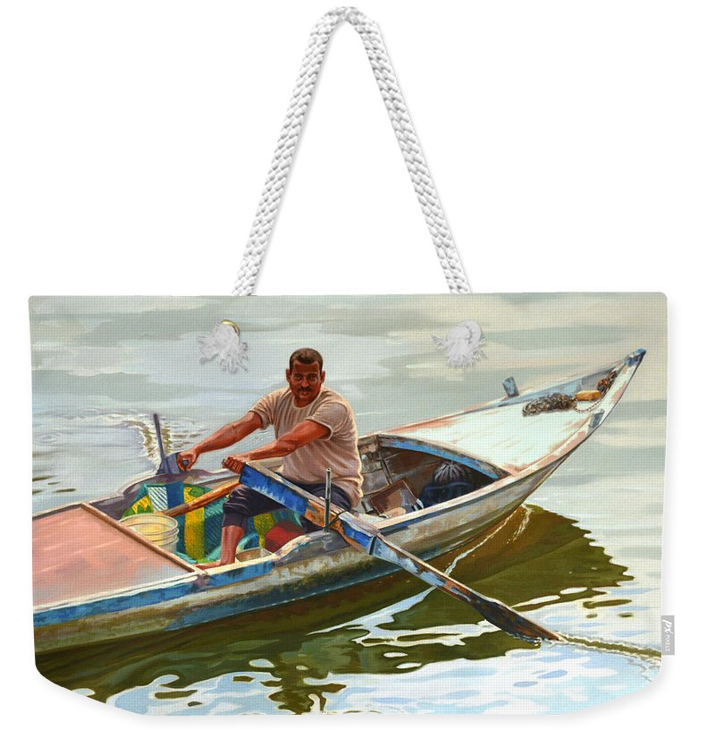 Fisherman Weekender Tote Bag featuring the painting Egyptian Fisherman by Ahmed Bayomi