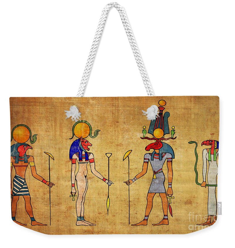 Egypt Weekender Tote Bag featuring the digital art Egyptian Gods And Goddness by Michal Boubin
