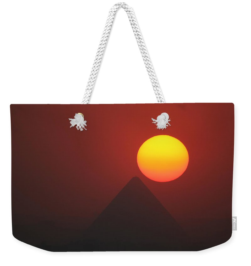 Pyramid Weekender Tote Bag featuring the photograph Egyptian Sunset by Donna Corless