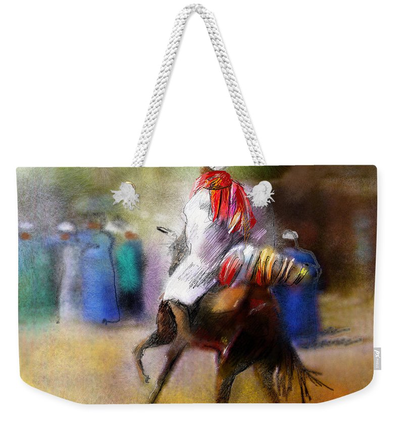 Eid Ul Adha Sheep Painting Festival Of Sacrifice Horses Knight Weekender Tote Bag featuring the painting Eid Ul Adha Festivities by Miki De Goodaboom