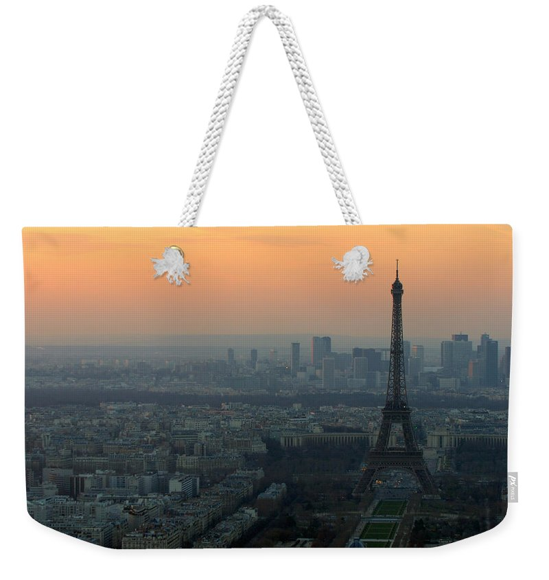 Eiffel Weekender Tote Bag featuring the photograph Eiffel Tower At Dusk by Sebastian Musial