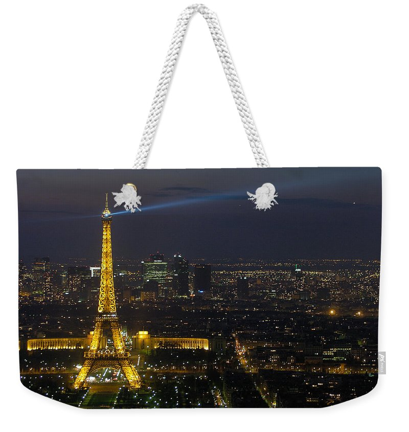 Eiffel Weekender Tote Bag featuring the photograph Eiffel Tower At Night by Sebastian Musial
