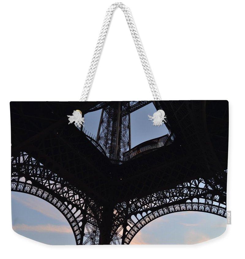 Eiffel Tower Weekender Tote Bag featuring the photograph Eiffel Tower Corner by Dawn Crichton