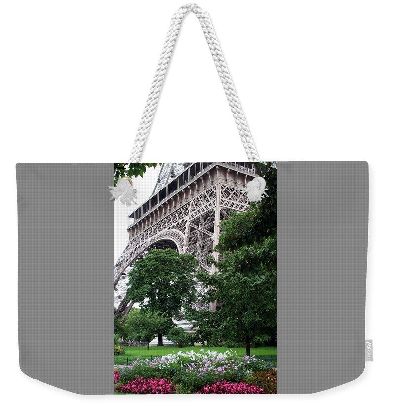Eiffel Weekender Tote Bag featuring the photograph Eiffel Tower Garden by Margie Wildblood