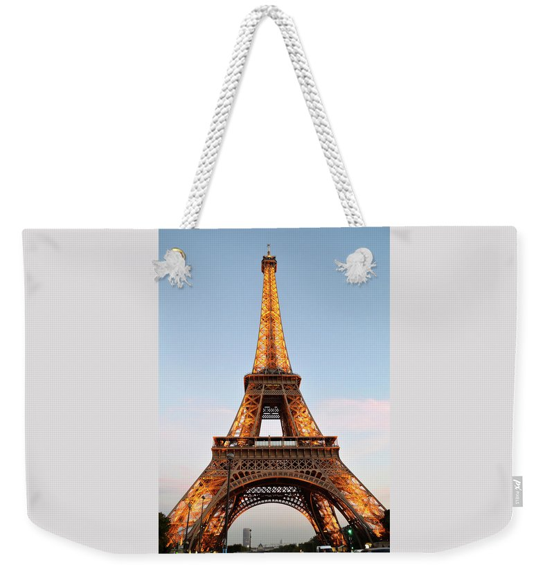 Eiffel Tower Weekender Tote Bag featuring the photograph Eiffel Tower Lighted by Dawn Crichton