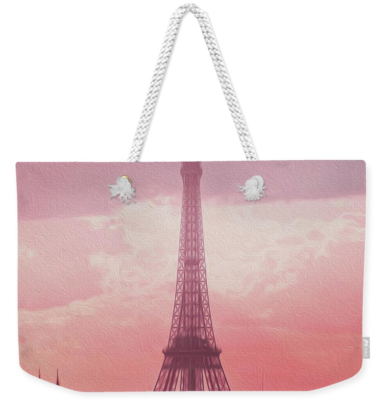 Paris Weekender Tote Bag featuring the photograph Eiffel Tower Sunset Art by Alex Art and Photo