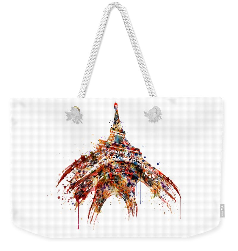 Tour Eiffel Weekender Tote Bag featuring the painting Eiffel Tower Watercolor by Marian Voicu