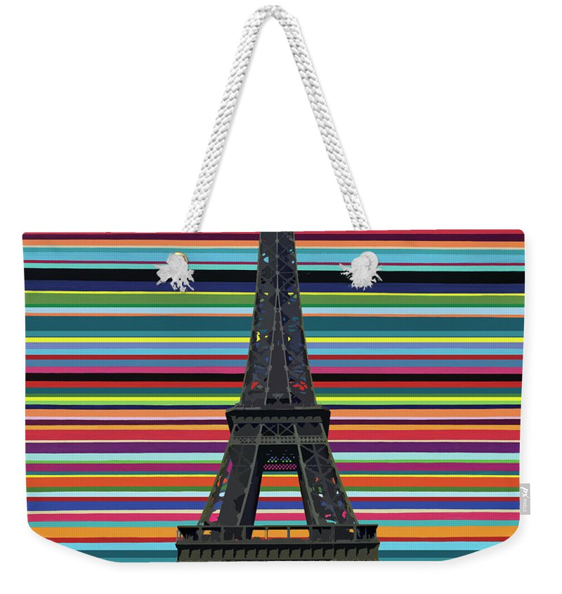 Eiffel Tower Weekender Tote Bag featuring the painting Eiffel Tower With Lines by Carla Bank