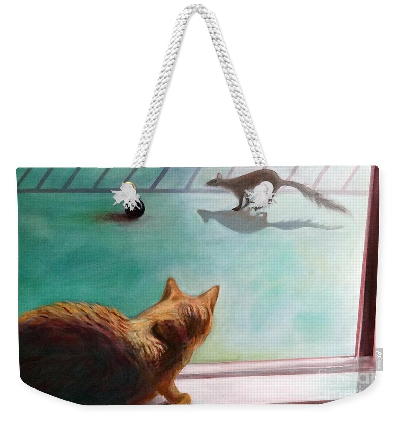 Cat Weekender Tote Bag featuring the painting Eight Ball by Barbara Oertli