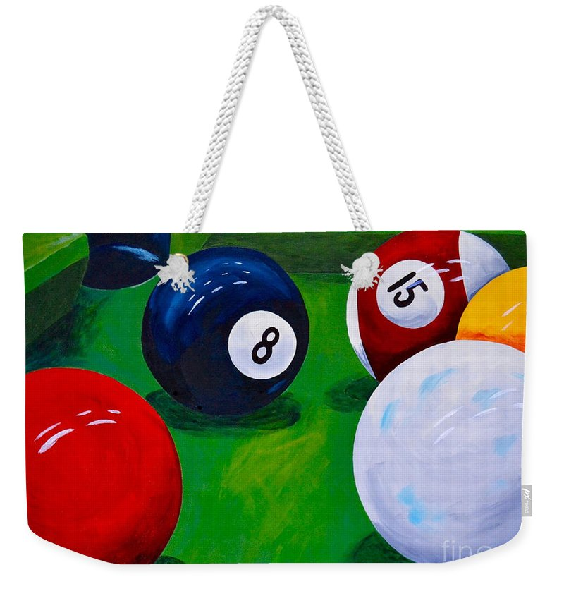 Pool Eight Ball Weekender Tote Bag featuring the painting Eight Ball Corner Pocket by Herschel Fall