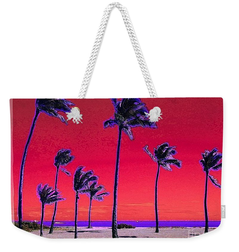 Hawaii Weekender Tote Bag featuring the digital art Eight Palms by Dorlea Ho
