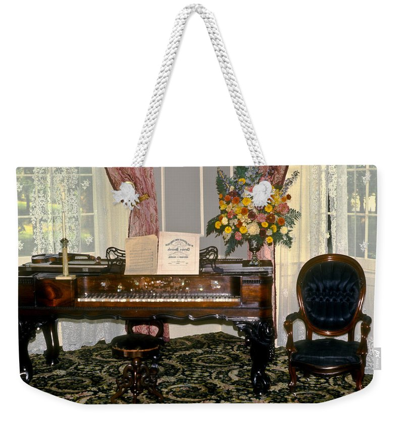 18th Weekender Tote Bag featuring the photograph Eighteenth Century Piano And Parlor by Douglas Barnett
