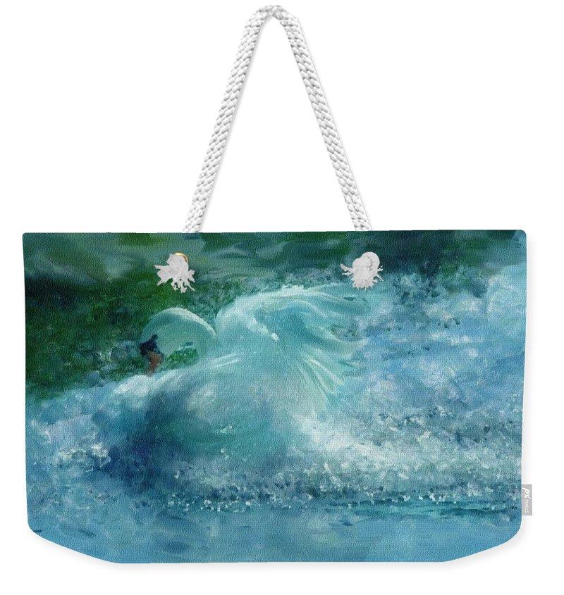 Impressionism Weekender Tote Bag featuring the painting Ein Schwan - The Swan by Georgiana Romanovna
