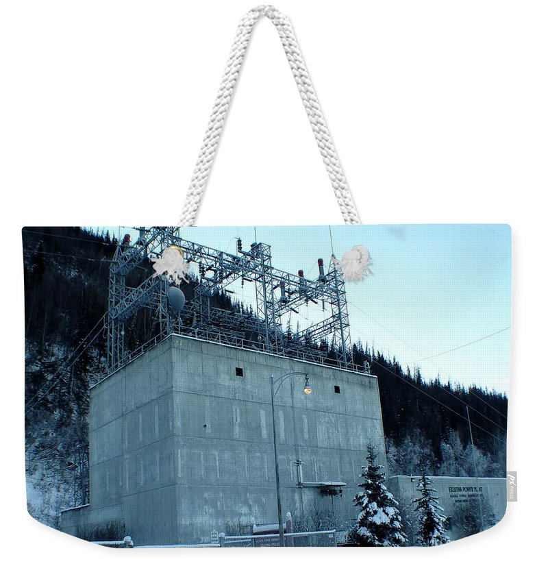 Landscape Weekender Tote Bag featuring the photograph Eklutna Electric Blue by Ron Bissett