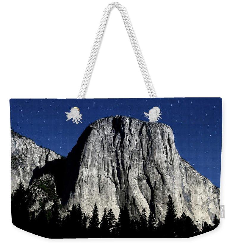 Alpine Weekender Tote Bag featuring the photograph El Capitan Under A Full Moon by Rick Furmanek