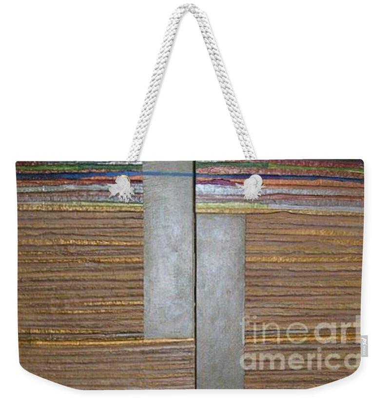 Metallic Weekender Tote Bag featuring the mixed media El Duo by Marlene Burns