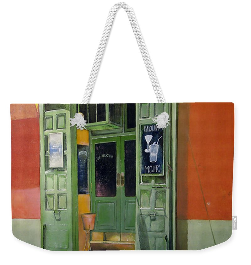 Hecho Weekender Tote Bag featuring the painting El Hecho Pub by Tomas Castano