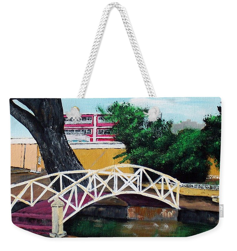 Aguadilla Weekender Tote Bag featuring the painting El Parterre by Luis F Rodriguez