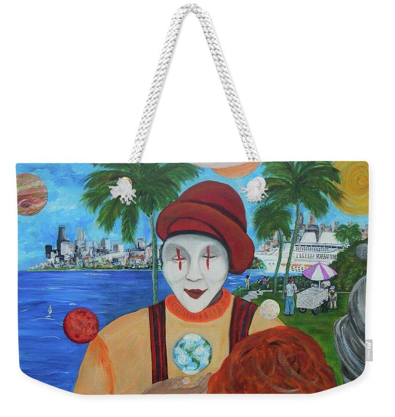 Universe Weekender Tote Bag featuring the painting El Payaso Es by Jorge Delara