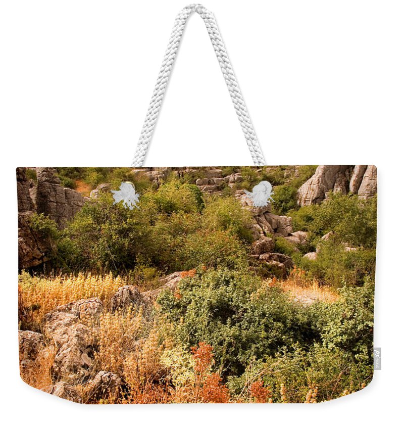 Limestone Weekender Tote Bag featuring the photograph El Torcal Rock Formations by Mal Bray