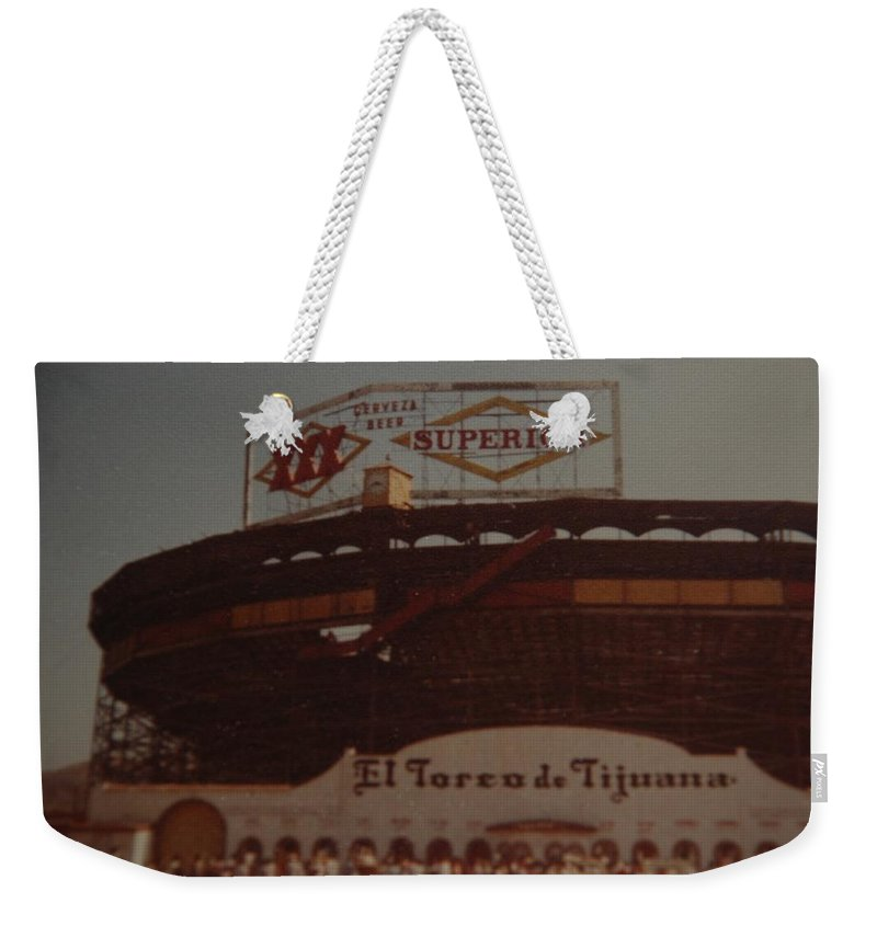 Tijuana Mexico Weekender Tote Bag featuring the photograph El Toreo De Tijuana by Rob Hans