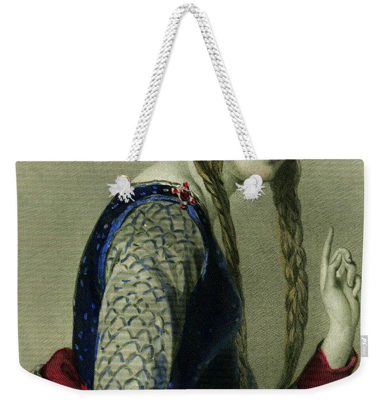 Eleanor Of Aquitaine Weekender Tote Bag featuring the painting Eleanor of Aquitaine, Queen of Henry II by English School