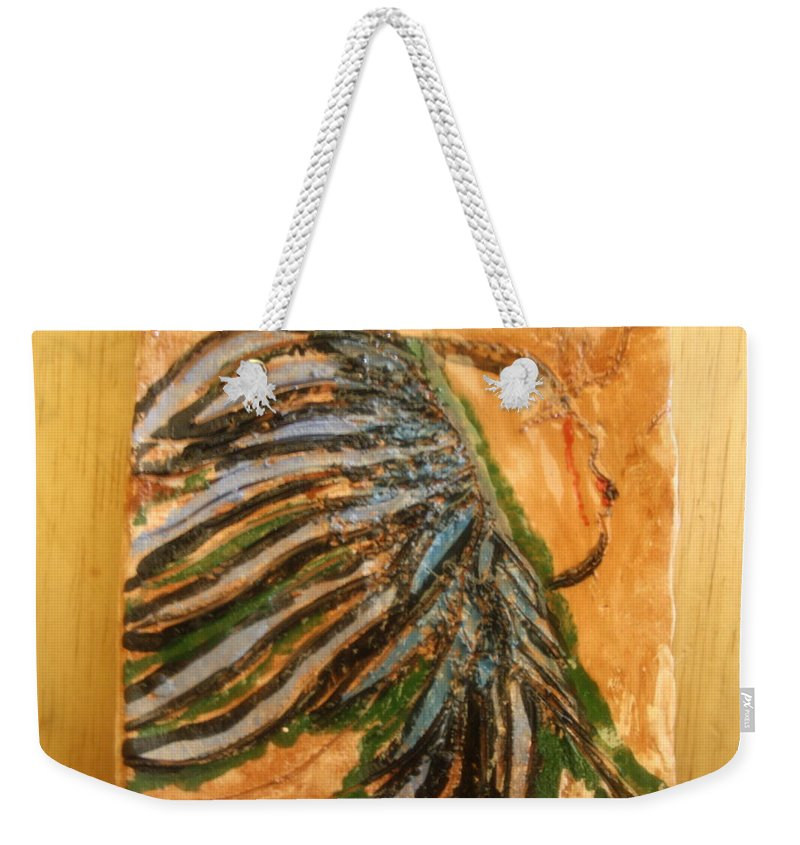 Jesus Weekender Tote Bag featuring the ceramic art Eleanora - Tile by Gloria Ssali
