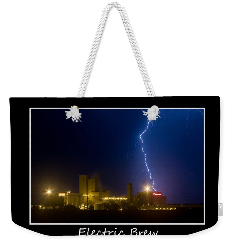 Budweiser Weekender Tote Bag featuring the photograph Electric Brew Poster by James BO Insogna