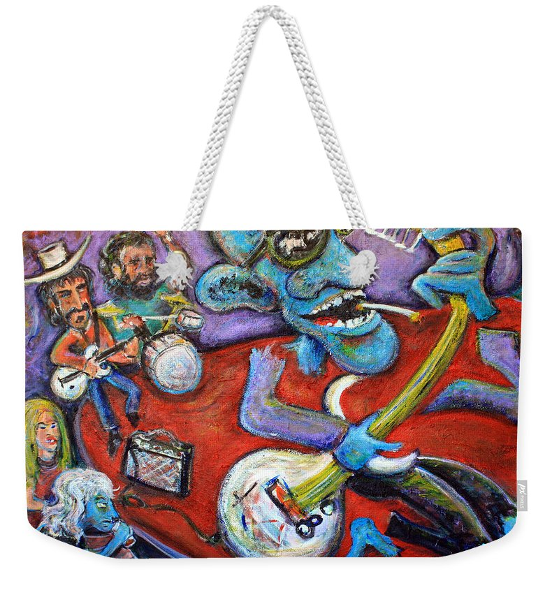 Jazz Music Art The Blues Musician Paintings Weekender Tote Bag featuring the painting Electric Heartache by Jason Gluskin