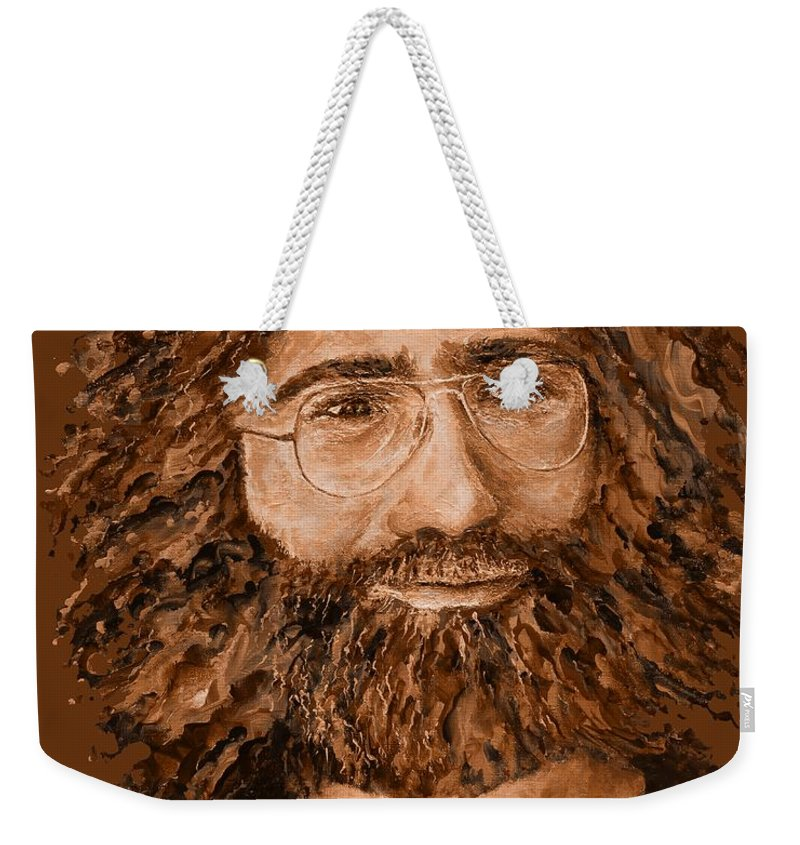 Jerry Weekender Tote Bag featuring the digital art Electric Jerry Desert - T-shirts-etc by Julie Turner