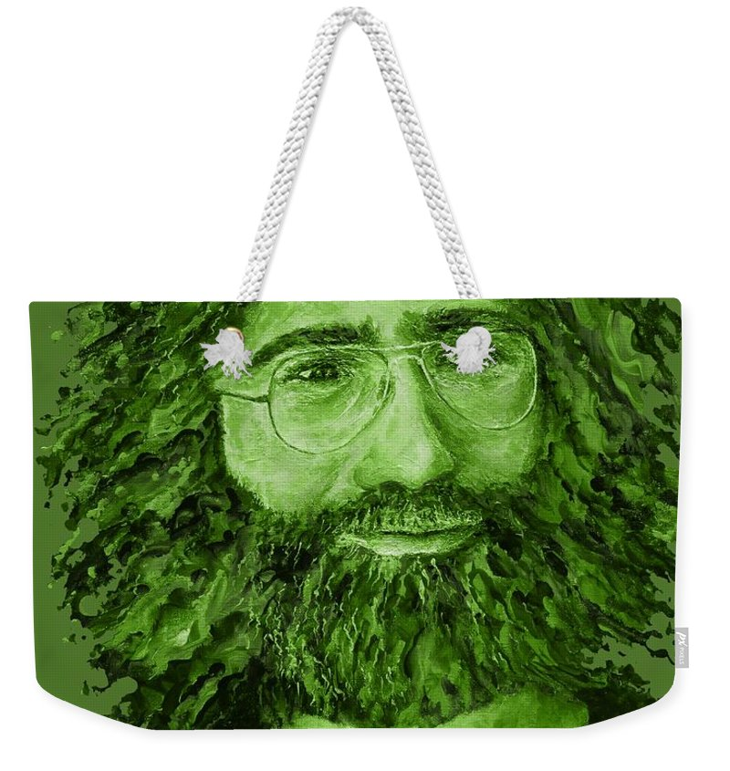 Jerry Weekender Tote Bag featuring the digital art Electric Jerry Olive - T-shirts-etc by Julie Turner