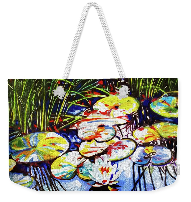 Lilypads Weekender Tote Bag featuring the painting Electric Lillypads by Dennis Kirby