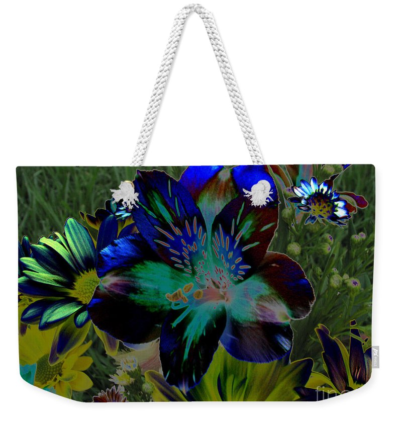 Art For The Wall...patzer Photography Weekender Tote Bag featuring the photograph Electric Lily by Greg Patzer