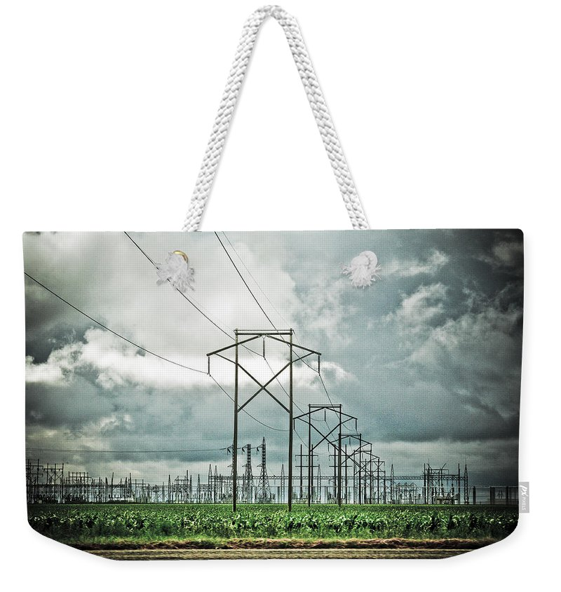 Electric Weekender Tote Bag featuring the photograph Electric Lines And Weather by Marilyn Hunt