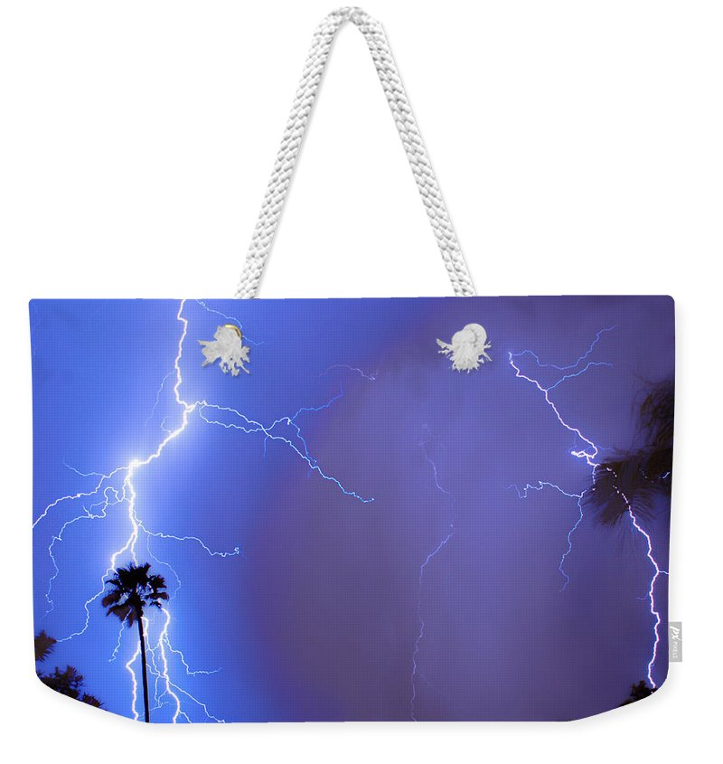 Lightning Weekender Tote Bag featuring the photograph Electric Night by James BO Insogna