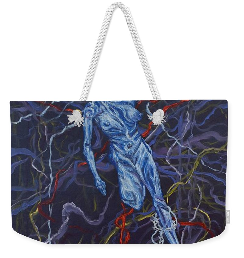 Pain Weekender Tote Bag featuring the painting Electric Pain by Judy Henninger