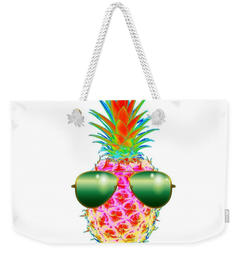 Electric Pineapple With Shades Weekender Tote Bag featuring the digital art Electric Pineapple With Shades by Marianna Mills