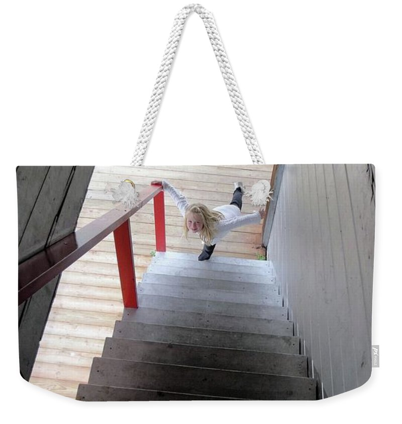 Bunkhouse Stair Weekender Tote Bag featuring the photograph Elegant Ascent by Ron Bissett