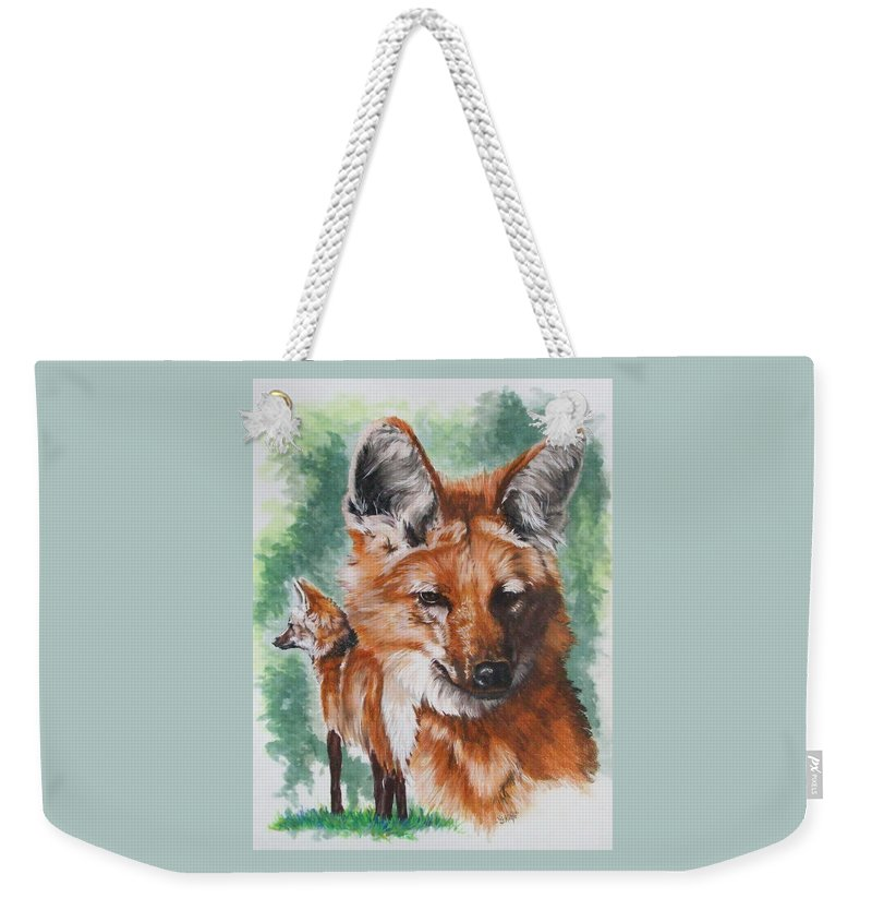 Canine Weekender Tote Bag featuring the mixed media Elegant by Barbara Keith