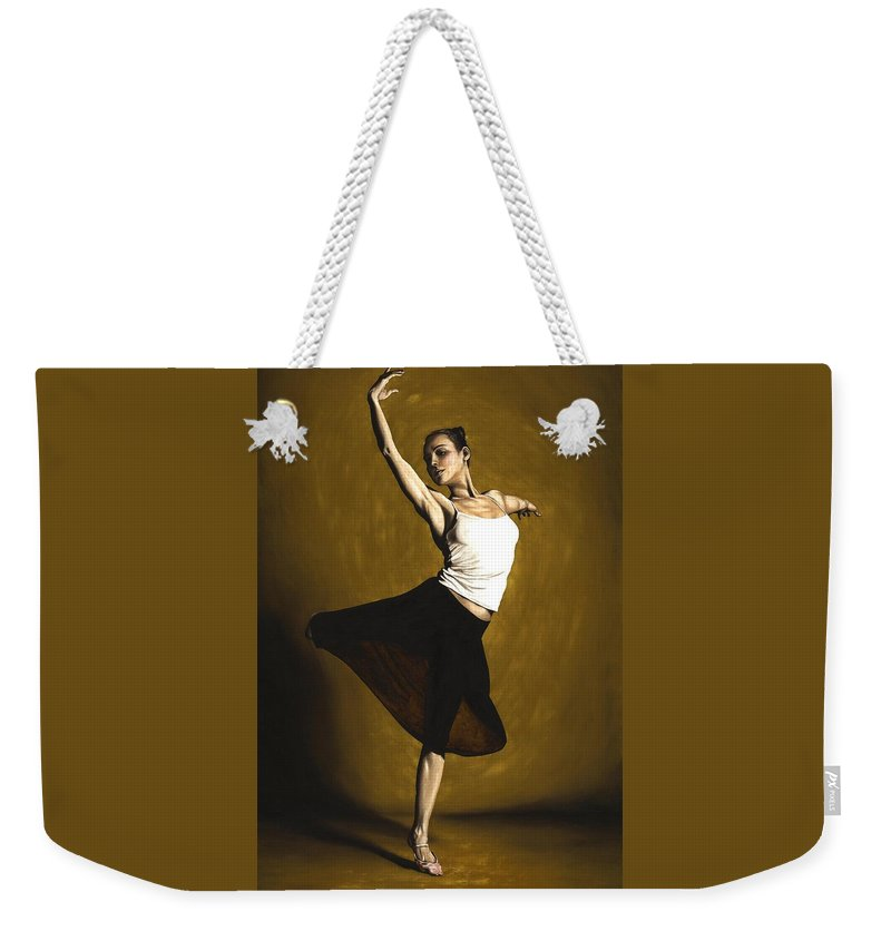Elegant Weekender Tote Bag featuring the painting Elegant Dancer by Richard Young